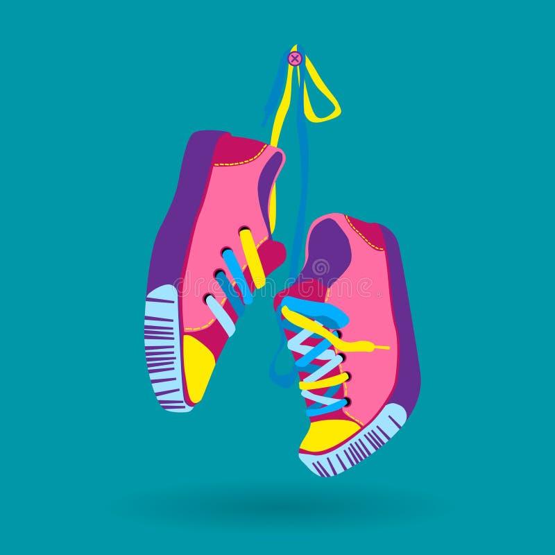 Icono colorido del desgaste del pie de Hang On Lace Training Shoe de los pares de la zapatilla de deporte stock de ilustración