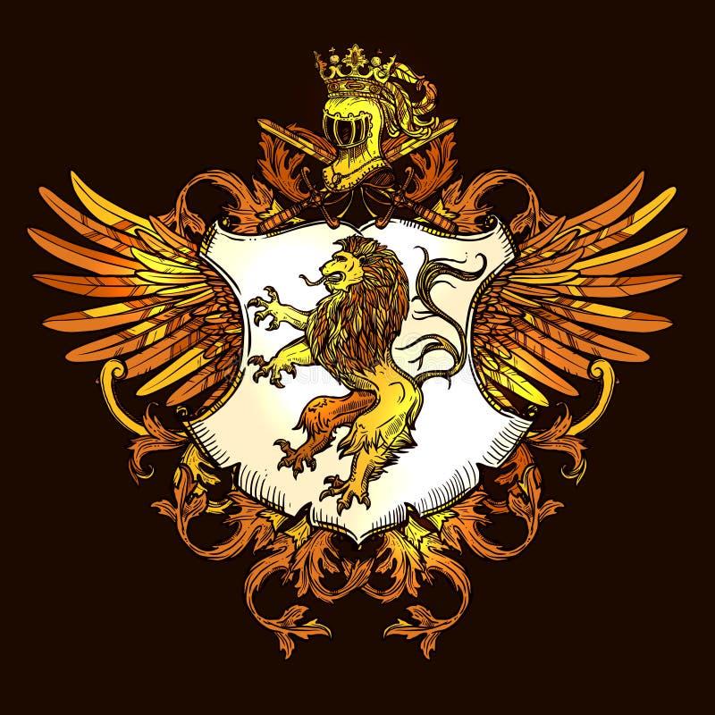 Icono colorido del emblema real heráldico clásico ilustración del vector