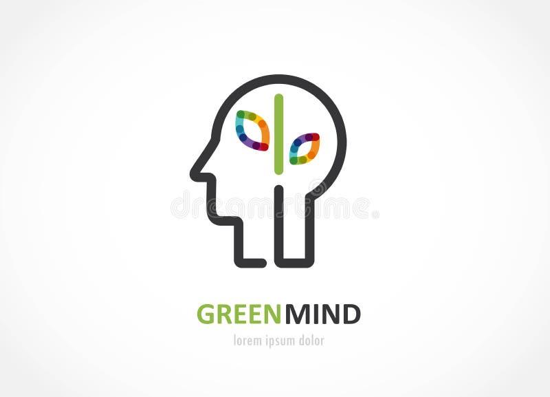 Icono colorido del extracto verde de la mente de la cabeza humana, símbolo del cerebro ilustración del vector