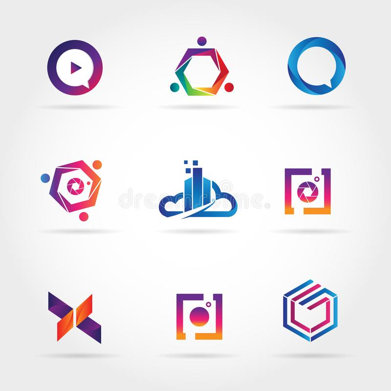 Icono colorido del símbolo de la muestra de Logo Business Set Collection Template ilustración del vector