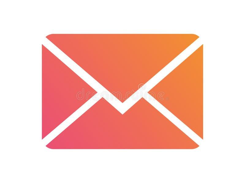 Icono colorido del sobre del correo electrónico del interfaz del vector de la pendiente ilustración del vector