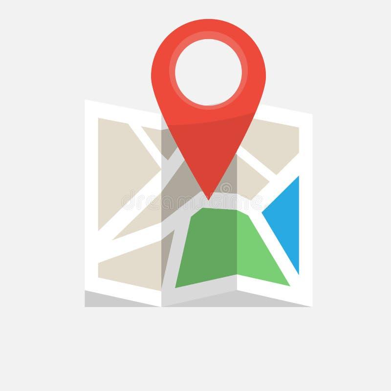 Icono colorido doblado del mapa con el marcador del perno Ilustraci?n del vector ilustración del vector