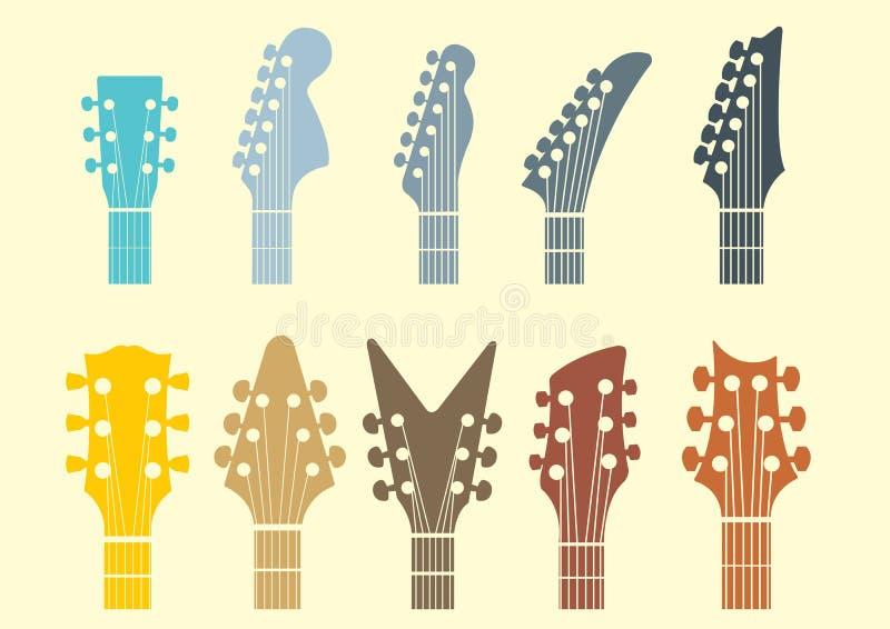 Icono común principal de la guitarra ilustración del vector