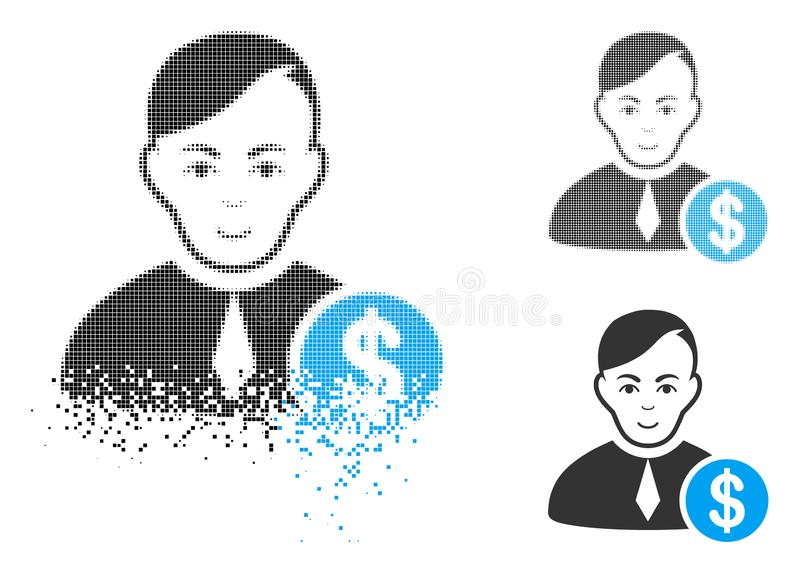 Icono comercial de semitono punteado disipado de Loyer con la cara ilustración del vector