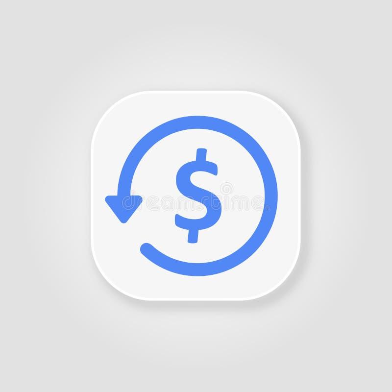 Icono, comercio electrónico y márketing azules del glyph del Chargeback stock de ilustración