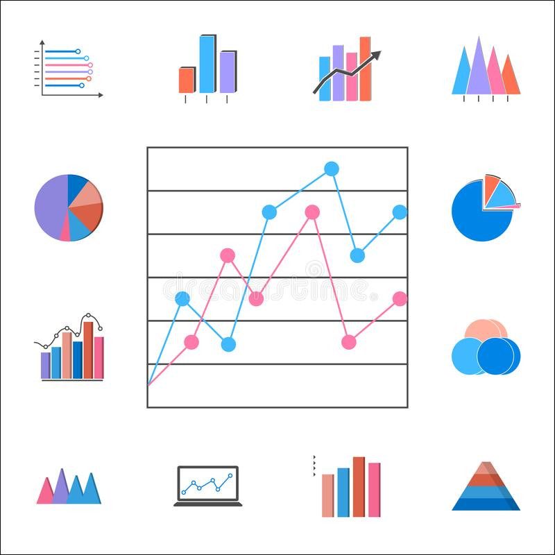 icono comparativo de la carta de punto Sistema detallado de iconos de las cartas y de Diagramms Muestra superior del diseño gráfi stock de ilustración