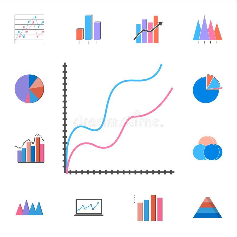 icono comparativo de la carta Sistema detallado de iconos de las cartas y de Diagramms Muestra superior del diseño gráfico de la  ilustración del vector