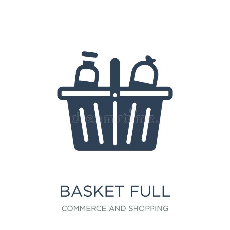 icono completo de la cesta en estilo de moda del diseño icono completo de la cesta aislado en el fondo blanco icono completo del  libre illustration