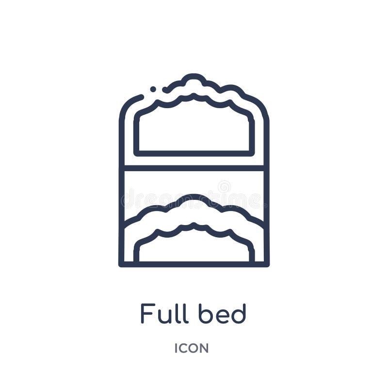 Icono completo linear de la cama de la colección del esquema de los edificios Línea fina icono completo de la cama aislado en el  ilustración del vector