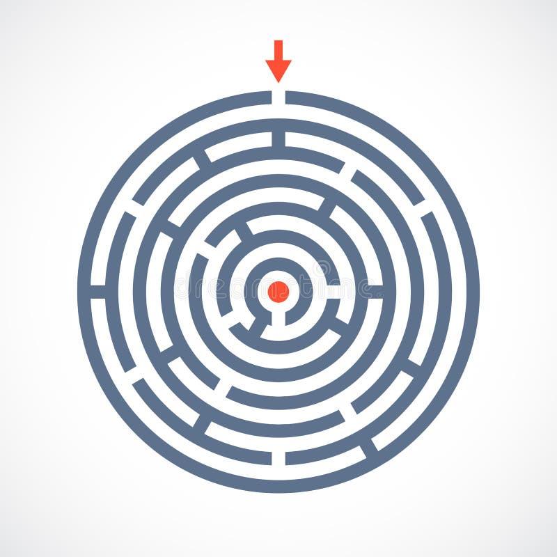 Icono complicado del vector del laberinto ilustración del vector