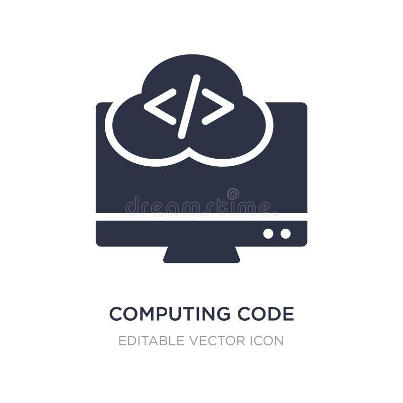 icono computacional del código en el fondo blanco Ejemplo simple del elemento del concepto del ordenador ilustración del vector
