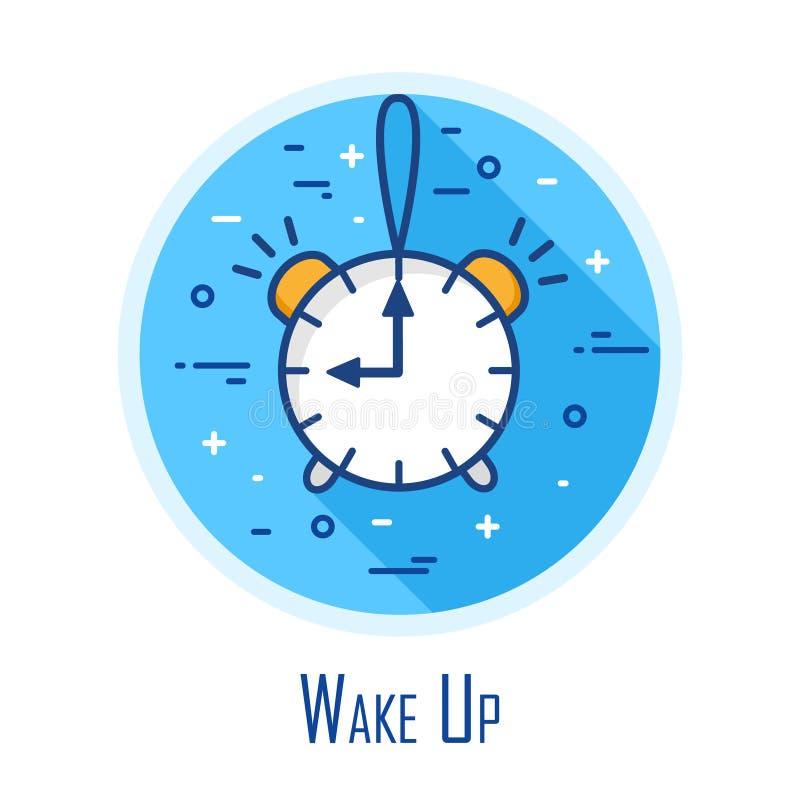 Icono con el despertador en un círculo coloreado Línea fina diseño plano Tarjeta de Víspera de Todos los Santos del vector libre illustration