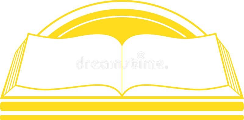 Icono con el libro y la salida del sol ilustración del vector