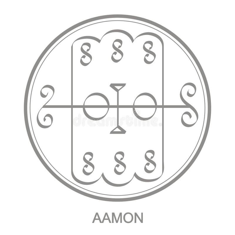 icono con el símbolo del demonio Aamon Sigil del demonio Aamon ilustración del vector