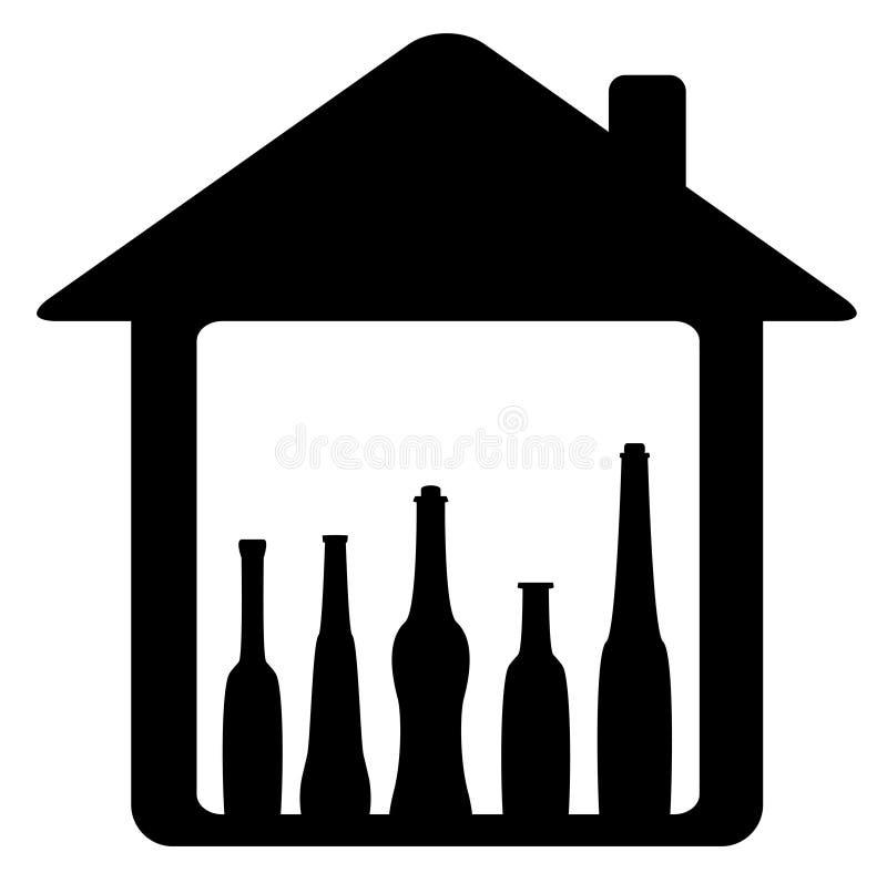 Icono con la botella en hogar libre illustration