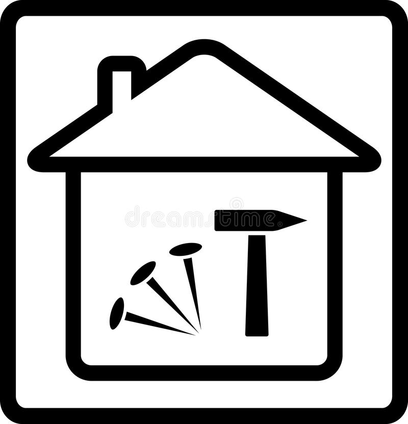 Icono con la casa, los clavos y el martillo stock de ilustración