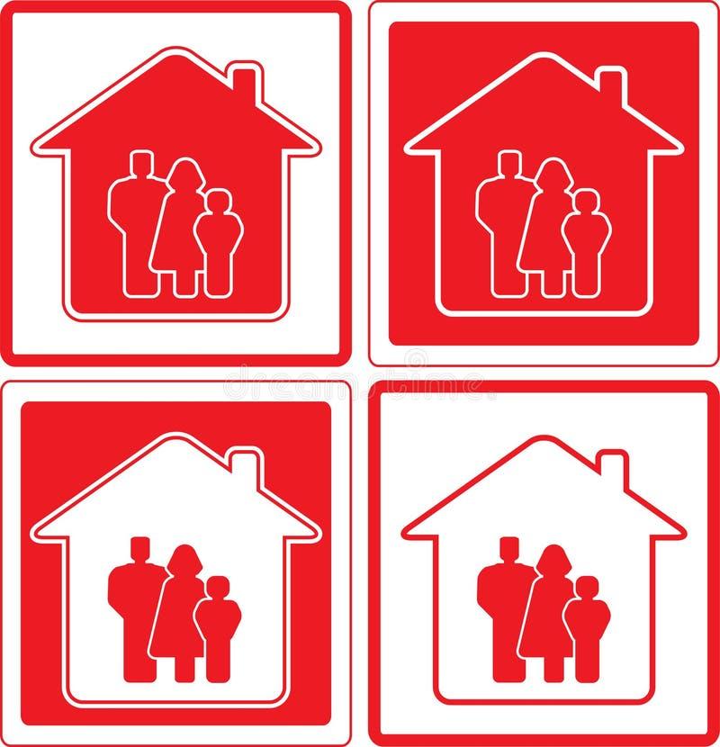 Icono con la familia y la silueta casera libre illustration