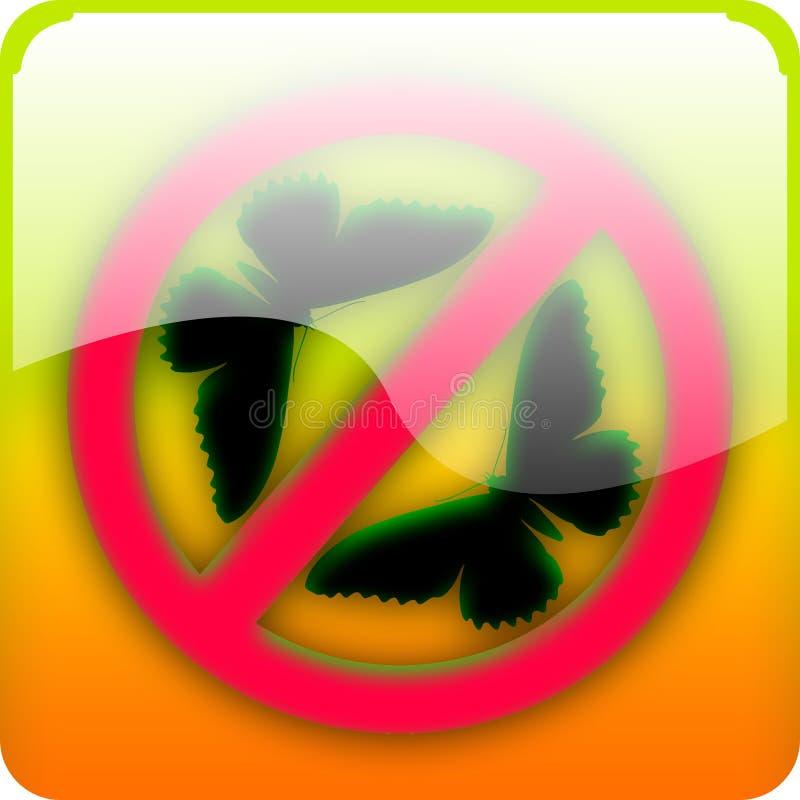 Icono con la mariposa stock de ilustración
