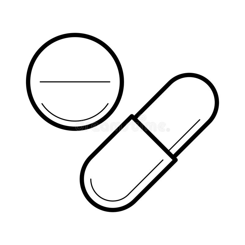 Icono con la tableta y la cápsula stock de ilustración