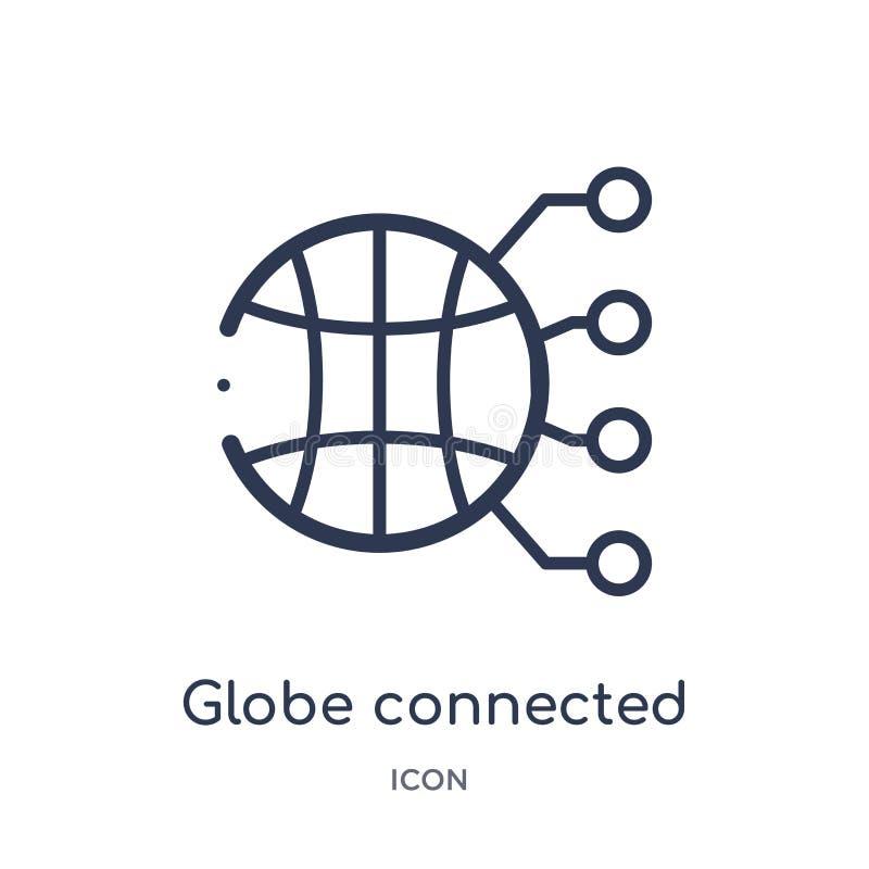icono conectado globo del circuito de la colección del esquema de la tecnología La línea fina globo conectó el icono del circuito stock de ilustración