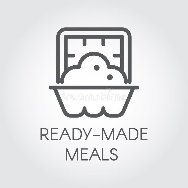 Icono confeccionado de las comidas Concepto preparado de la etiqueta de la comida de la porción Plato en logotipo gráfico del web stock de ilustración