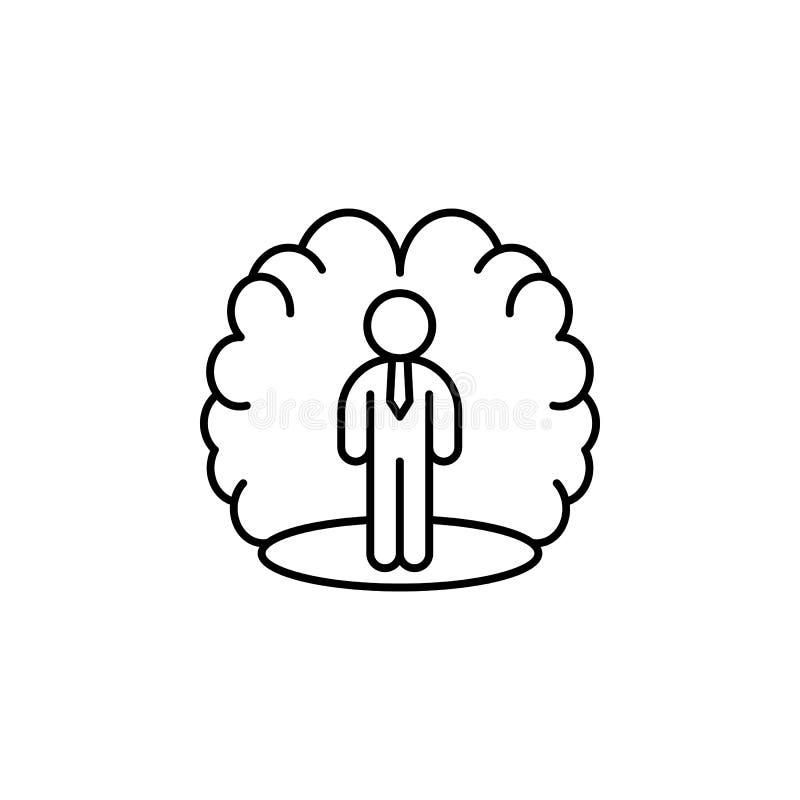 Icono confiado del cerebro del modo de pensar de la psicología Elemento de la línea ico de la motivación del negocio stock de ilustración