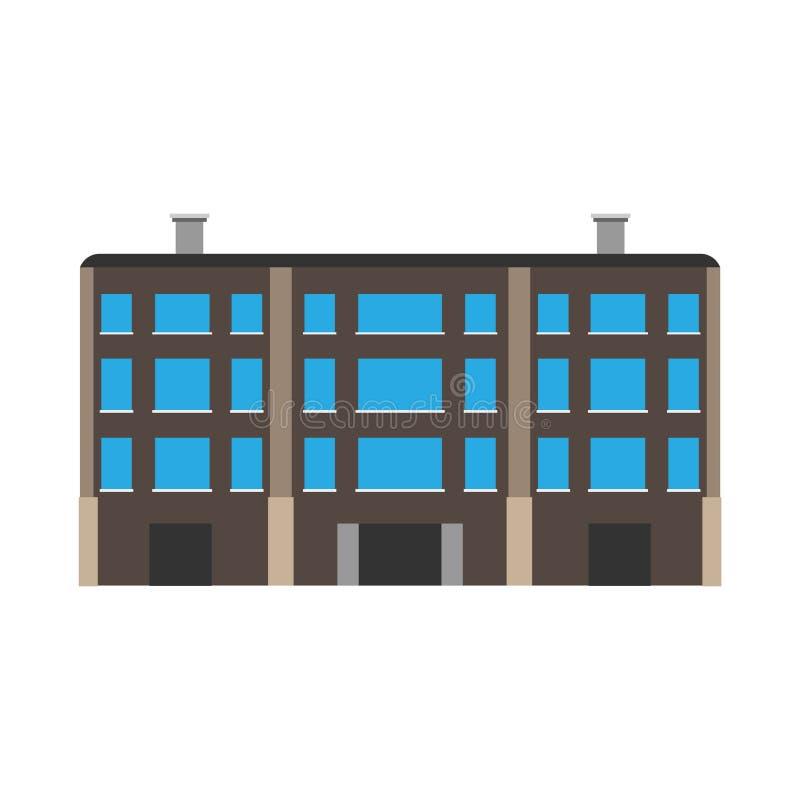 Icono constructivo comercial del vector de la ciudad de la estructura del paisaje urbano de la oficina de negocios Arquitectura e libre illustration