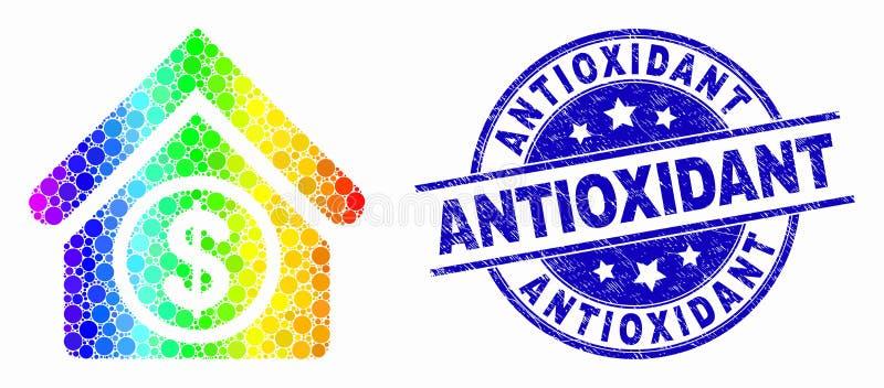 Icono constructivo comercial punteado espectral del vector y sello antioxidante rasguñado ilustración del vector