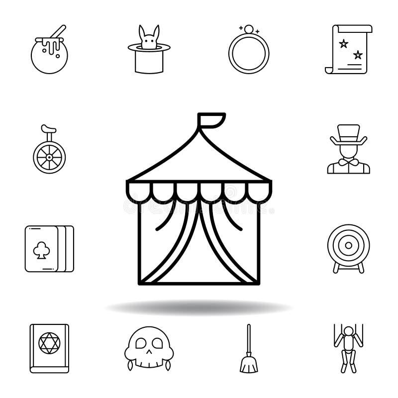 Icono constructivo m?gico del esquema del circo elementos de la línea mágica icono del ejemplo las muestras, símbolos se pueden u stock de ilustración