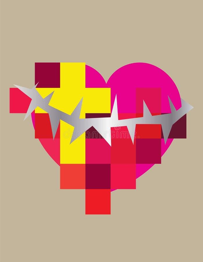 Icono contemporáneo cristiano de la cruz del corazón libre illustration
