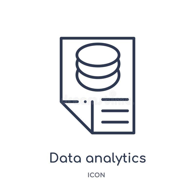 icono contento del analytics de los datos de la colección del esquema de la interfaz de usuario Línea fina icono contento del ana stock de ilustración