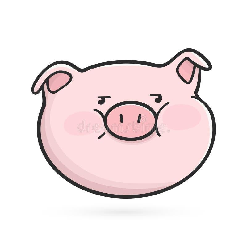 Icono contrariedad del emoticon Cerdo de Emoji ilustración del vector
