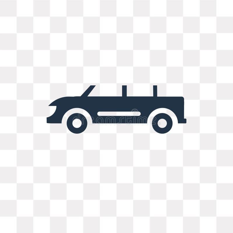 Icono convertible del vector del coche aislado en fondo transparente, ilustración del vector