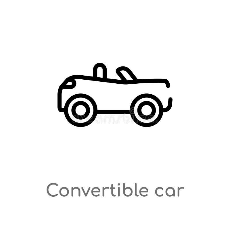 icono convertible del vector del coche del esquema r Vector Editable stock de ilustración