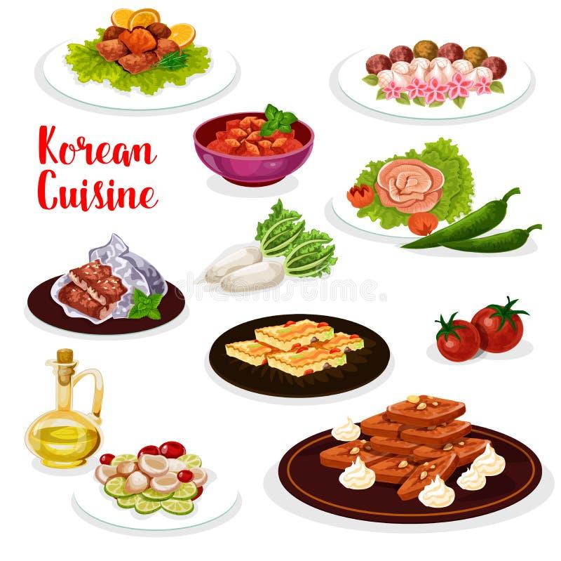 Icono coreano de la cocina del plato de los mariscos y de la verdura ilustración del vector