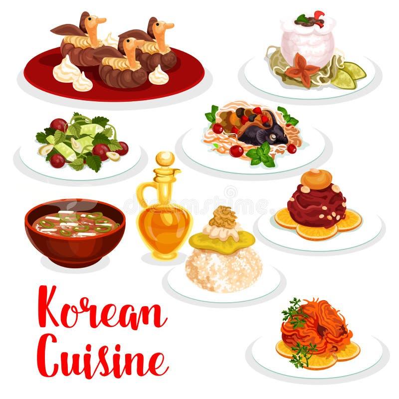 Icono coreano del almuerzo del restaurante de la cocina de la comida asiática stock de ilustración