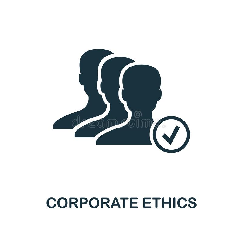 Icono corporativo de los éticas Diseño monocromático del estilo de la colección del icono de la ética empresarial UI y UX Corpora libre illustration