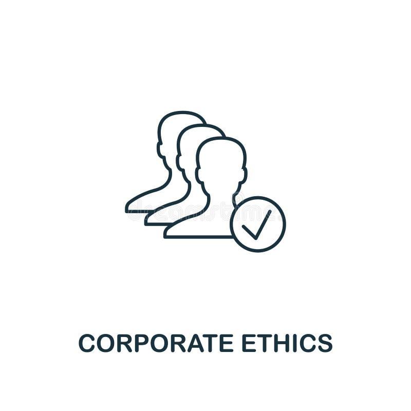 Icono corporativo de los éticas Línea fina símbolo del diseño de la colección de los iconos de la ética empresarial Icono corpora ilustración del vector