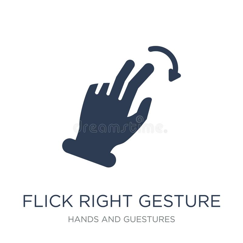 Icono correcto del gesto de la película Gesto correcto de la película plana de moda del vector libre illustration