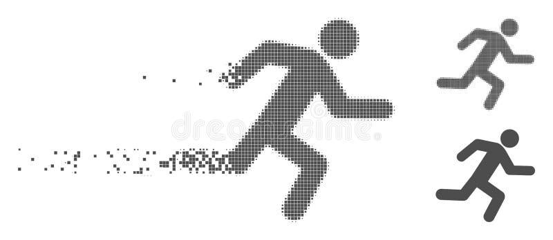 Icono corriente de semitono Destructed del hombre del pixel libre illustration