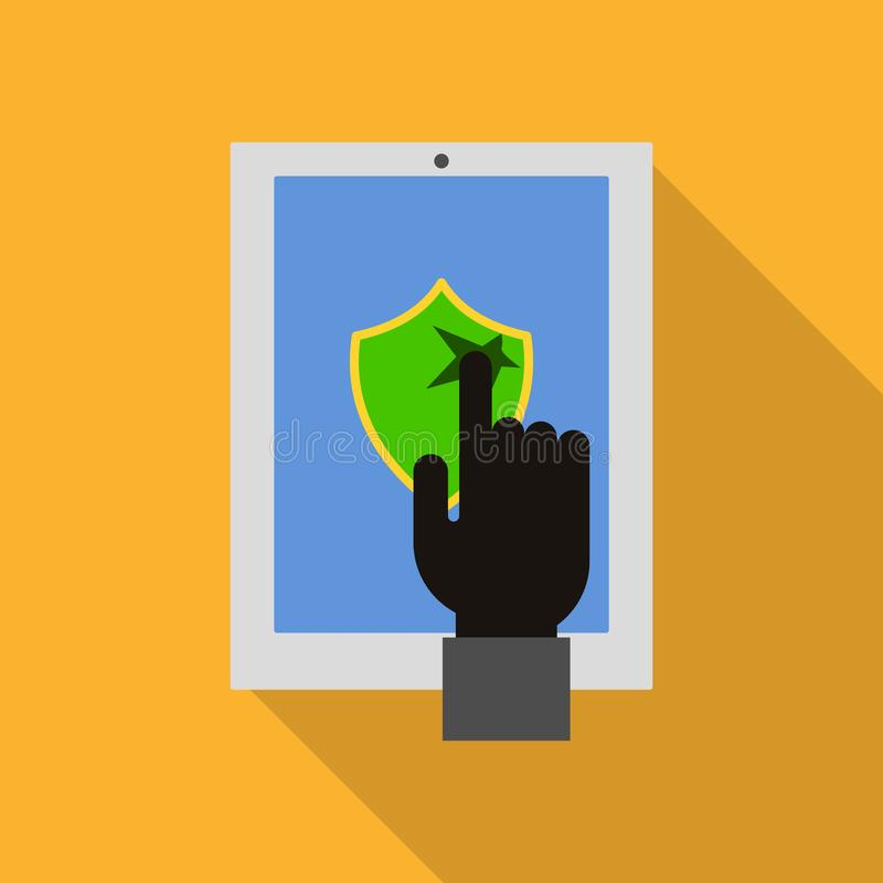 Icono cortado de la seguridad del dispositivo, estilo plano stock de ilustración
