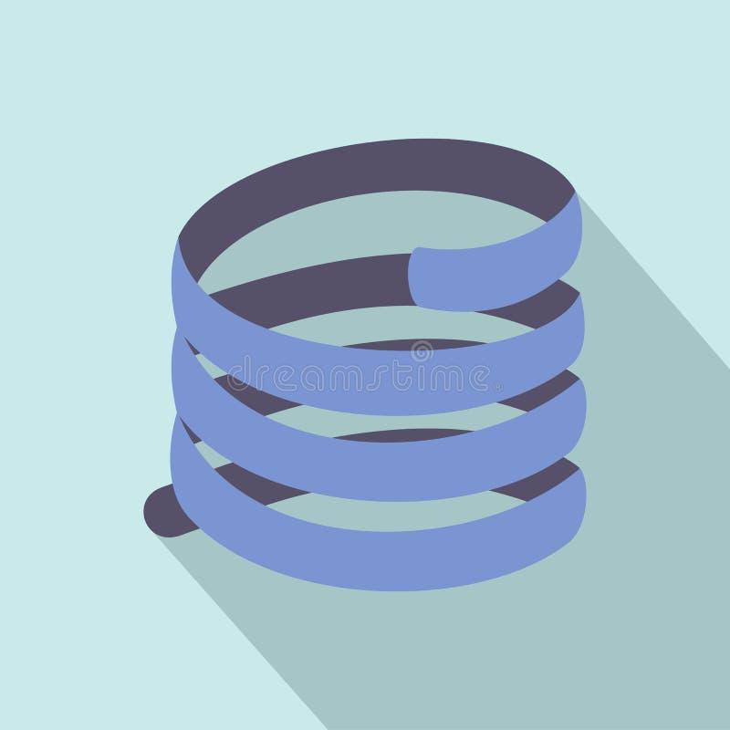 Icono corto de la bobina de la primavera, estilo plano ilustración del vector