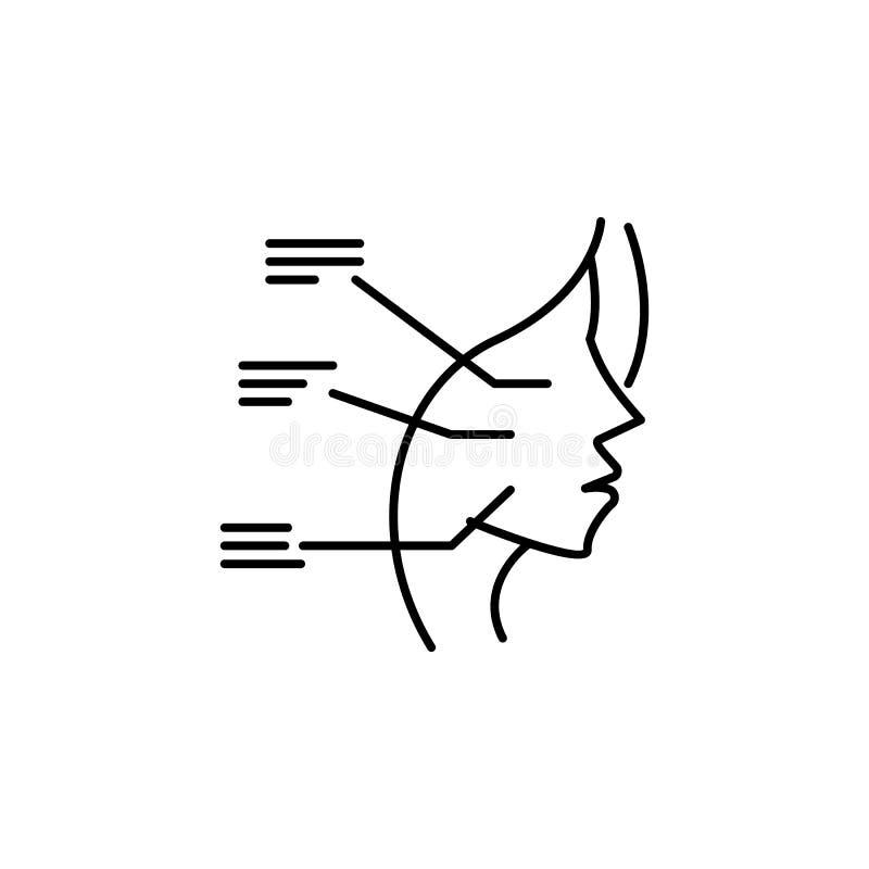 Icono cosmético del análisis de la cara Elemento de la belleza y del icono antienvejecedor para los apps móviles del concepto y d ilustración del vector