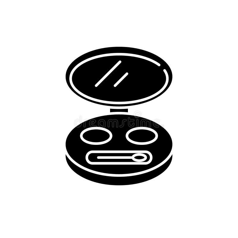 Icono cosmético del negro del bolso, muestra del vector en fondo aislado Símbolo cosmético del concepto del bolso, ejemplo stock de ilustración