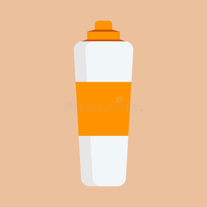 Icono cosmético poner crema del vector de la salud del tratamiento Máscara del cuidado de la botella de la piel del producto de b stock de ilustración