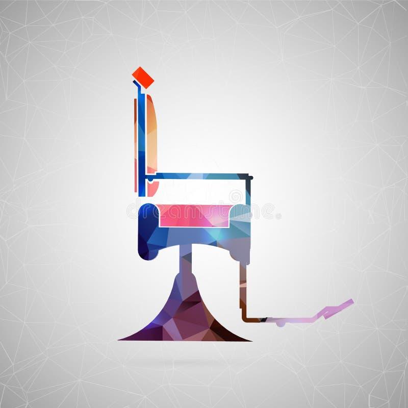 Icono creativo abstracto del concepto de la silla de peluquero Para el web y el contenido móvil aislados en fondo, diseño inusual stock de ilustración