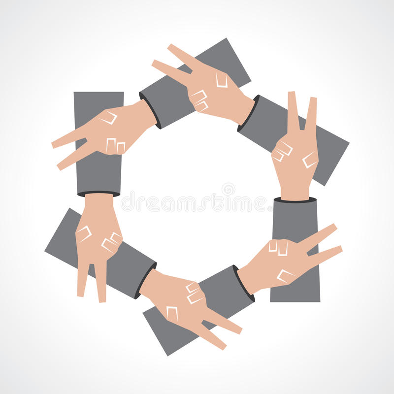 Icono creativo de la mano de la victoria stock de ilustración