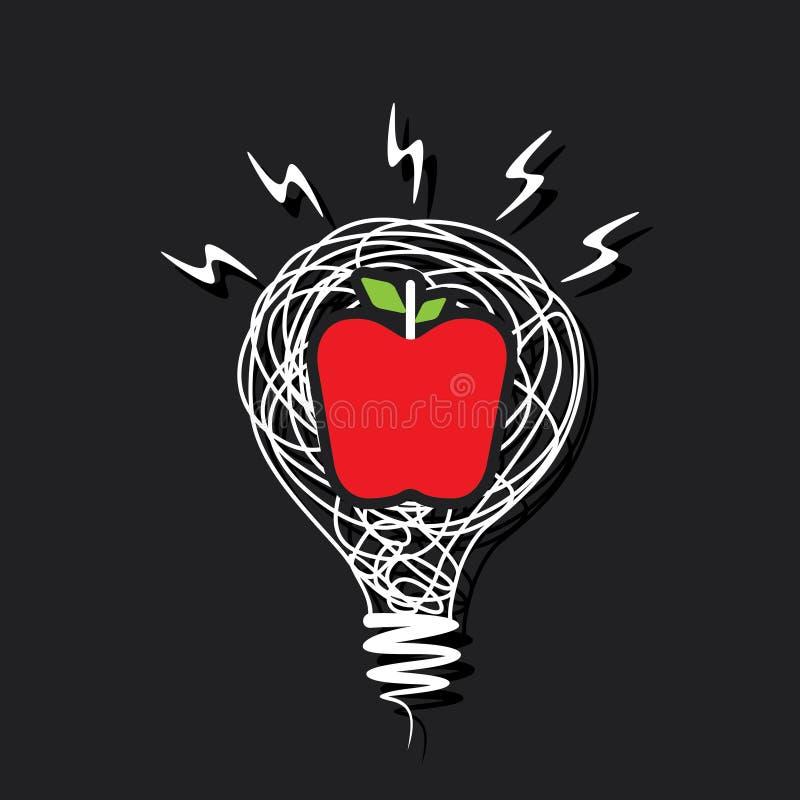 Icono creativo de la manzana en diseño del bulbo ilustración del vector