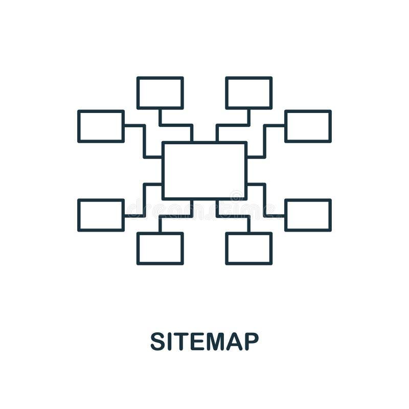Icono creativo de Sitemap Ejemplo simple del elemento Diseño del símbolo del concepto de Sitemap de la colección del seo Perfecci ilustración del vector