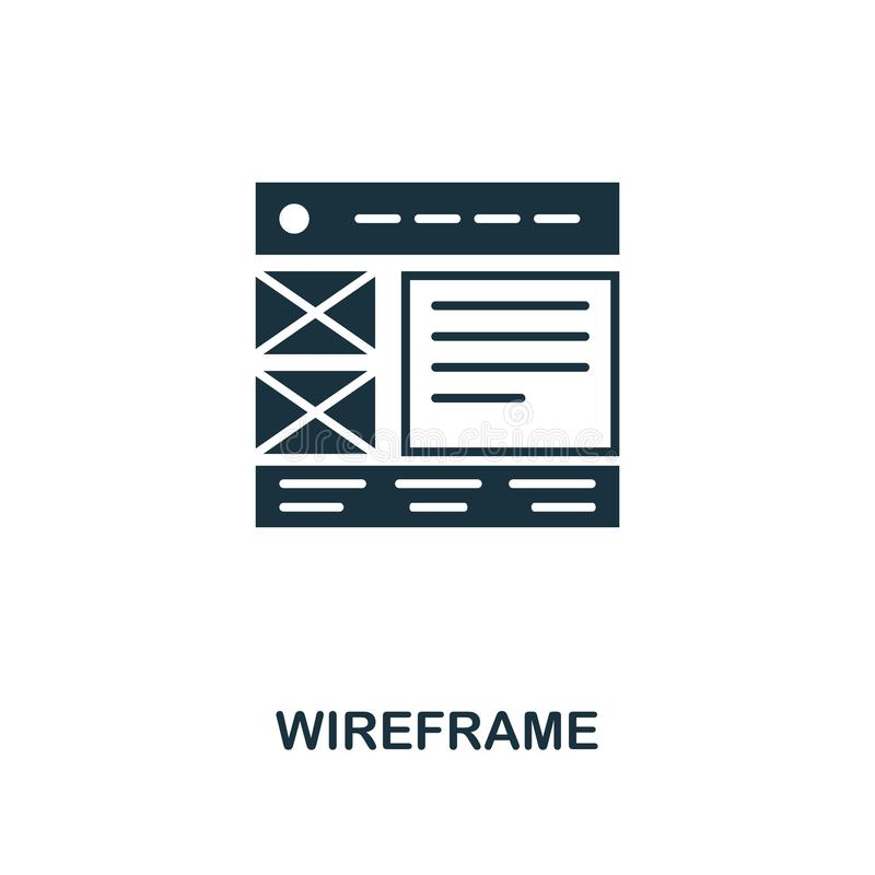 Icono creativo de Wireframe Ejemplo simple del elemento Diseño del símbolo del concepto de Wireframe de la colección del desarrol ilustración del vector